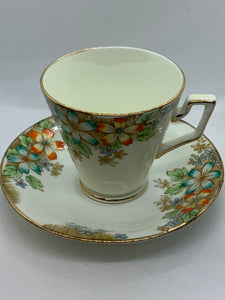 Delphine, England, Bone China, Cup and Saucer. Multi floral.