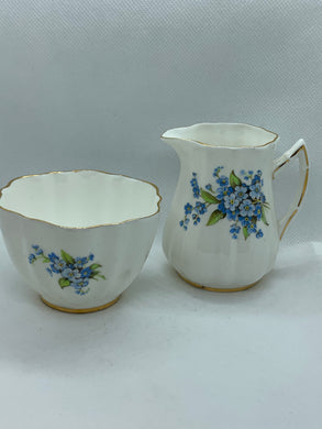 Old Royal. England.  Creamer and Open Sugar.  Blue Forget Me Nots