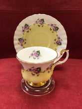 Load image into Gallery viewer, Royal Albert, England. Cup and saucer. Purple Violets, 4361- Yellow