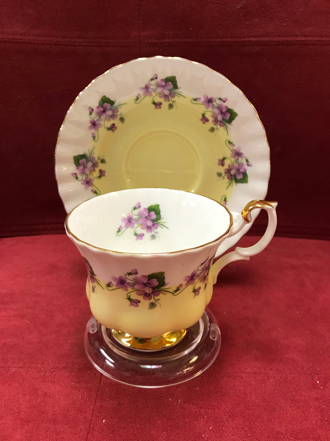 Royal Albert, England. Cup and saucer. Purple Violets, 4361- Yellow