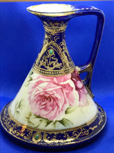 Load image into Gallery viewer, Pitcher, Nippon, Conical Shape, Cobalt with Pink Roses- RARE.