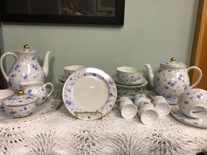 Breakfast Service, Arzberg, Germany, Bayern, Bone China, Coffee Pot, Blue and White
