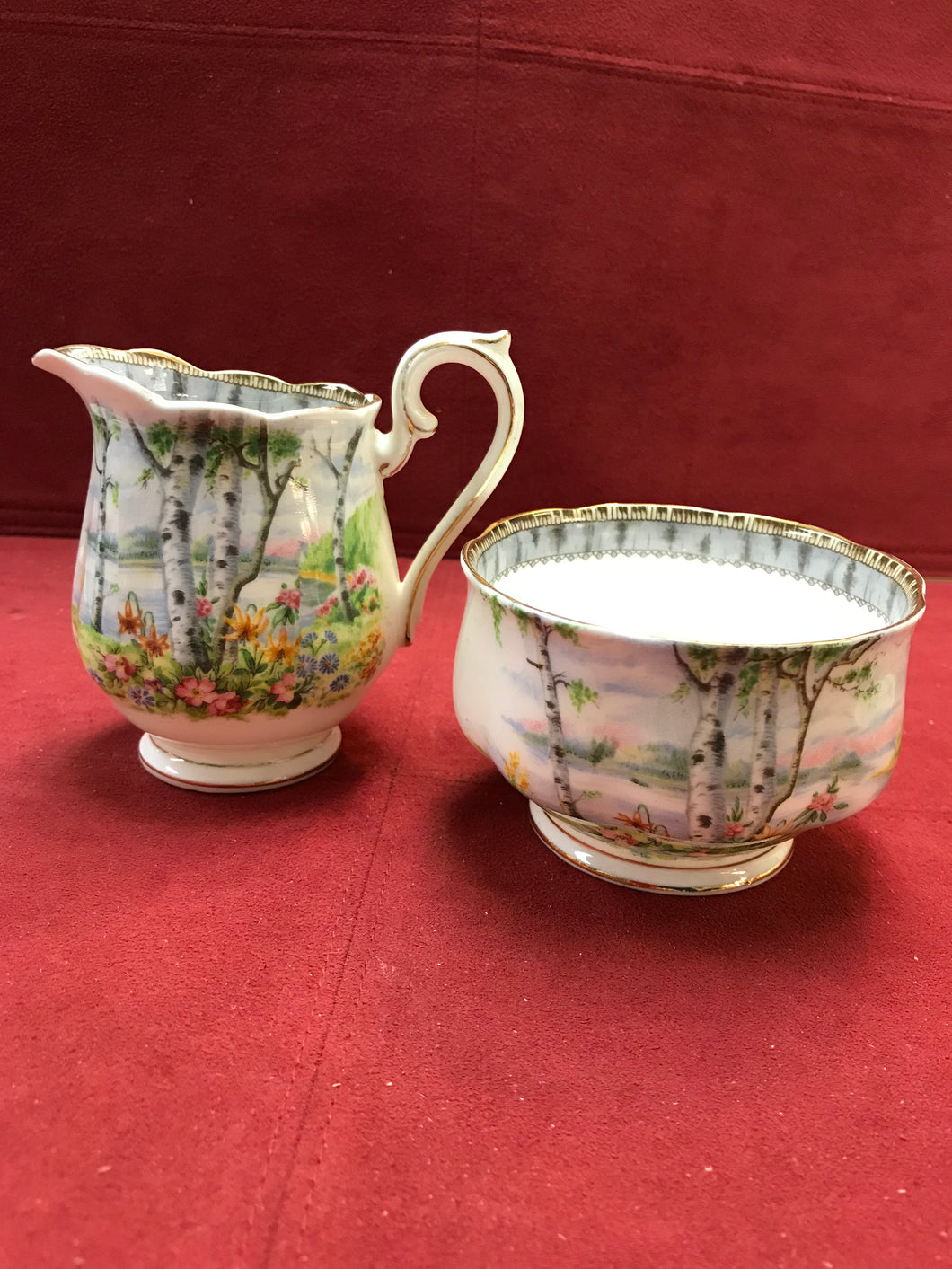 Cream and Sugar, Royal Albert, England, Silver Birch