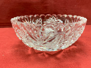 Bowl with 6 fruit Nappies, Pressed Glass, Vintage