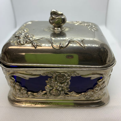 Butter Dish.  Occupied Japan.  Silver Plated with cobalt Blue Glass Insert