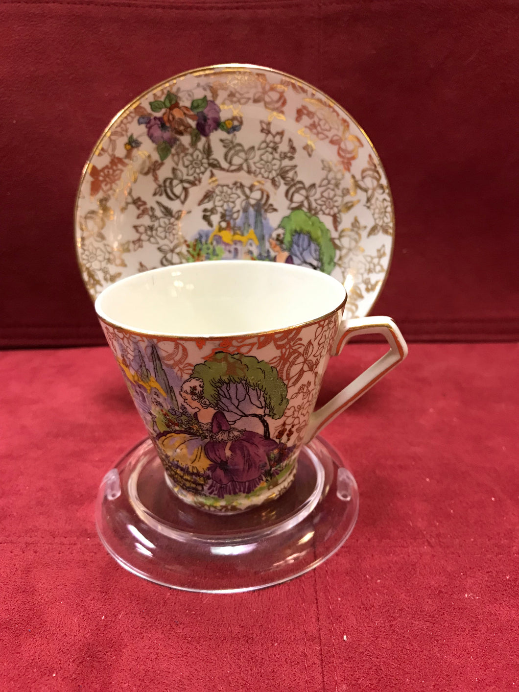 Nelson Ware,  Crinoline Lady. Demitasse Cup and Saucer