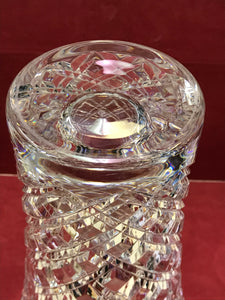 "Crystal, Diamond PattVase,ern, very heavy. 12"" tall"