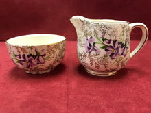 Load image into Gallery viewer, James Kent Ltd, England. Cream and sugar. Gold Chintz/Violets