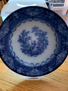 Collector Plate. Watteau -Doulton. England. Wide Rimmed Bowl  Blue and White.