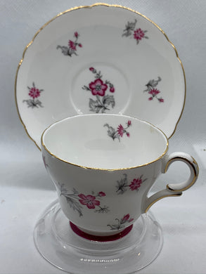 Shelley. Made in England.  Pink Flowers/Grey/Silver/ Gold.Demitasse Cup and Saucer