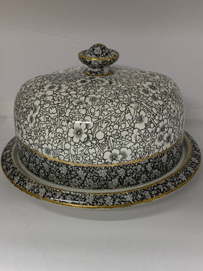 Cheese Keeper. Doulton/Burslem. England.  2 pc.  Round cheese Keeper.  BlackTransferware