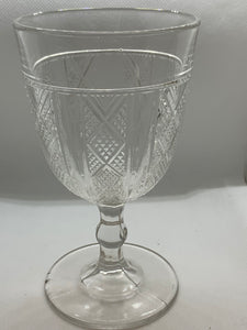 Nova Scotia , Pressed Glass, Goblet,  Panelled Diamonds-  Antique