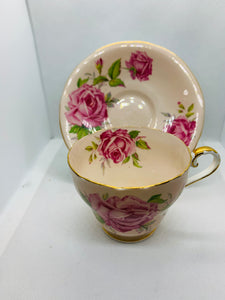 Aynsley.  England. Cup and Saucer.  Large Pink Roses on soft pink background