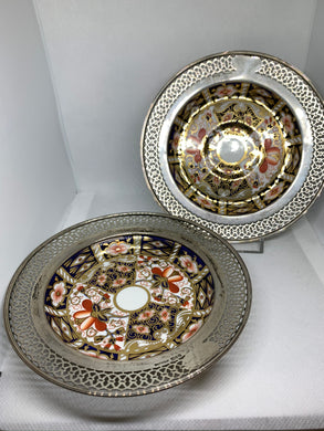 Royal Crown Derby. England.   2 Saucers- wrapped in sterling silver .  Imari Pattern.