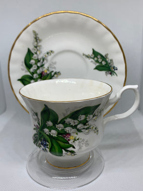 "Bluebird China, Canada, Cup and Saucer,  Lily of the Valley ""Reserved for Alexandria"""
