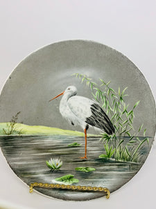 Collector Plate- Unmarked. Unsigned. White Stork.  8-3/4""