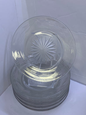"Unmarked. Pressed Glass. Dessert Plates.  5"".   Set of 10"
