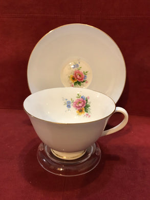 Hamilton China, England .Cup and Saucer. Powder Blue with Roses