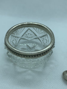 Salt Cellar, Cut Crystal with silver band and spoon.  SSMC sterling