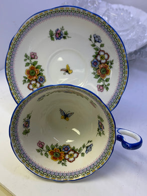 Aynsley. England. Cup and Saucer.  Mixed Floral with Butterfly.