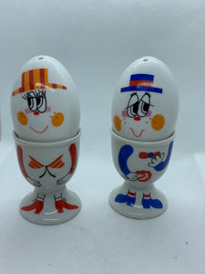 Egg Cups/salt and Pepper. Unmarked. Pair.