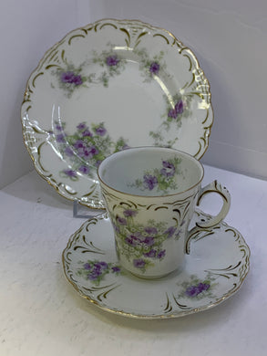 Imperial China. Austria. Demitasse Cup and Saucer with side plate.