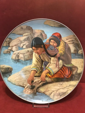 Collector Plate. People of the Midnight Sun . Anana with little Nutak, by Nori Peter.  10