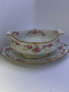 Limoges. France. Bridal Roses. Gravy Boat with Fixed  Under Plate.