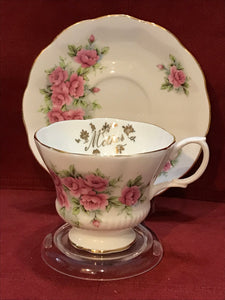 Royal Albert, England. Cup and Saucer. Pink Roses, Mother
