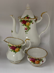 Royal Albert, Old Country Roses. Coffee Pot , Creamer and Open Sugar Bowl