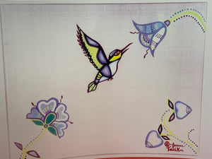 Print. Ojibwe. Woodland Style.  Hummingbird and Flowers.   by Jenner Tauch Kwe