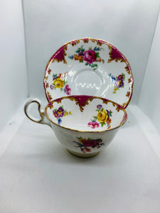 Aynsley. England. Cup and Saucer.  Pink & Yellow Roses with mixed floral.