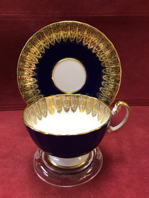 Aynsley, England. Cup and Saucer. Cobalt and Gold, 2469