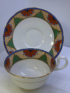 Aynsley. England. Cup and Saucer.  Orange flowers with Green