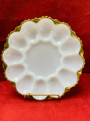 Devilled Egg Plate. USA. Glass. White with Gold.  Holds 12 Devilled Eggs