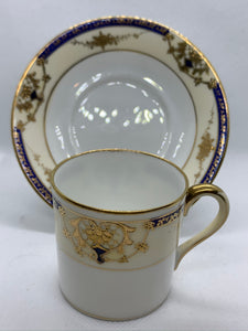 Noritake, Japan Cream, Ivory, Cobalt and Gold. Demitasse Cup and Saucer