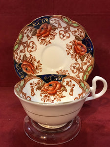Bell China,. England. Cup and Saucer.  Imari Pattern-   Rust Floral, Blue/Gold