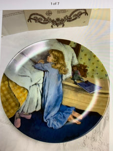 "Collector Plate. RECO. Becky's Day Series. No. 7 of 7 ""Evening Prayers"". 8-1/2"""