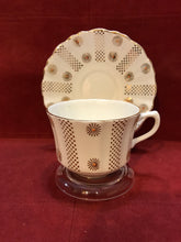 Load image into Gallery viewer, Alesbury, England. Cup and Saucer. White with gold flowers