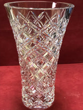 "Load image into Gallery viewer, Crystal, Diamond PattVase,ern, very heavy. 12"" tall"