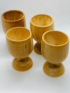 Egg Cups. West Germany.  Wooden- hand turned- set of 4