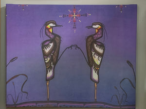 Print on Canvas. Ojibwe- Woodland Style-  Herons.  By Jenner Tauch Kwe