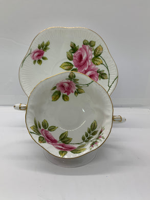 Shelley, England. 2 Handled Soup Bowl with Under Plate.  RAMBLER ROSE
