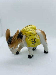 Japan. Coin Bank. Little Donkey carrying bags of money. RARE