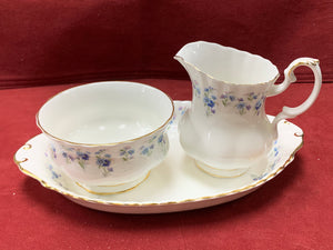 Royal Albert, Memory Lane, Cream and Sugar with Tray,  Forget-Me-Nots