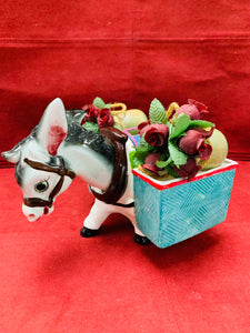 Planter. Japan. Donkey- Bobble-Head.  with side baskets. RARE