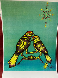 Print.  Ojibwe- Woodland Style.  Sparrows.  By Jenner Tauch Kwe.