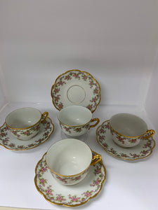 "Limoges, Elite Works.  ""Bridal Wreath""  Cups and Saucers.  Set of 4"