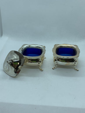 Salt Cellar, England. Grenadier.  Pair of footed silver plated salt cellars.
