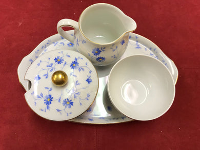 Breakfast Service, Arzberg, Germany, Bayern, Bone China, 5 pc service, Blue and White
